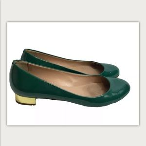 J. Crew Janey Patent Flats Size 5.5 Green Leather